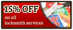15% off on all locksmith services.